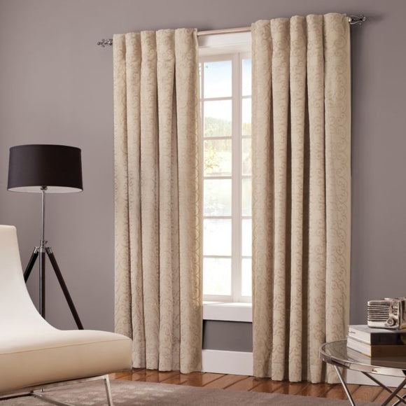 Designer's Select Claudia Back Tab Window Curtain Panel  30W  X  108L  Colour Linen Inverted Pleat