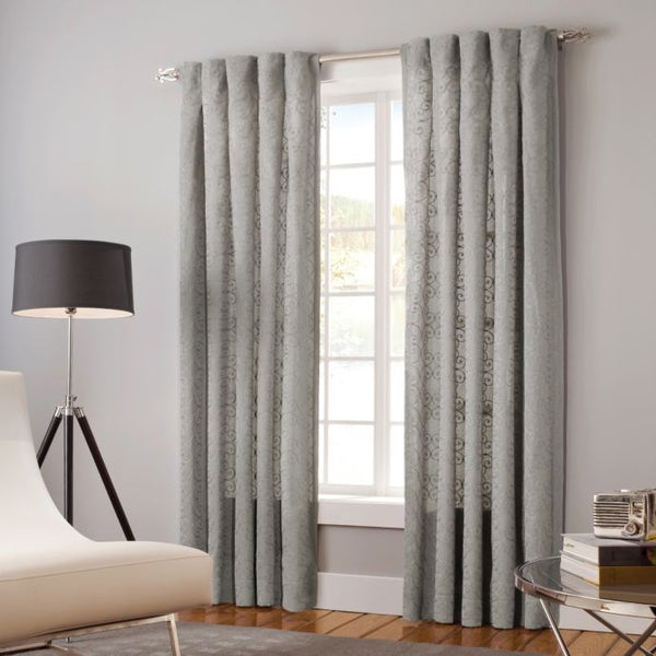 Designer's Select Claudia Back Tab Window Curtain Panel  30W  X  108L  Colour Slate Inverted Pleat