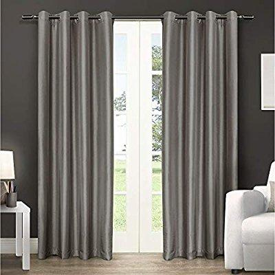 "Faux Silk Semi- Opaque Grommet Curtain Panels - 54""W x 108""H   Light Grey For 2"