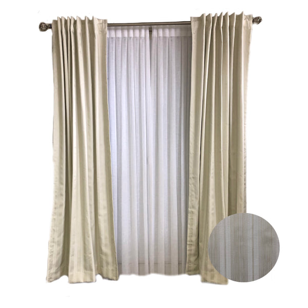 Ivory tone-on-tone Strip Curtains