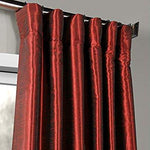 Half Price Drapes PDCH-KBS5-108 Vintage Textured Faux Dupioni Silk Curtain, 50 x 108, Red