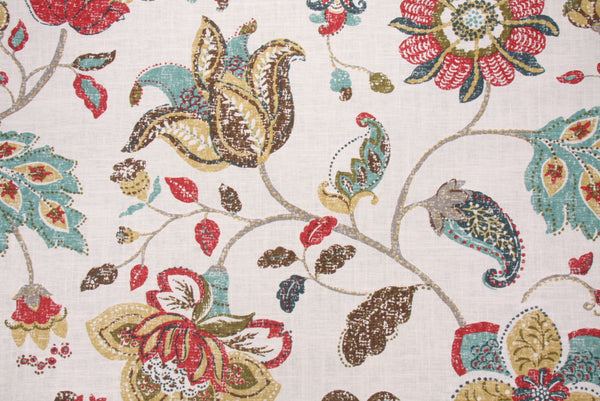 Robert Allen Spring Mix Printed Linen Drapery Fabric in Poppy