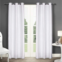 "Faux Silk Semi- Opaque Grommet Curtain Panels - 54""W x 96""H   Light White"