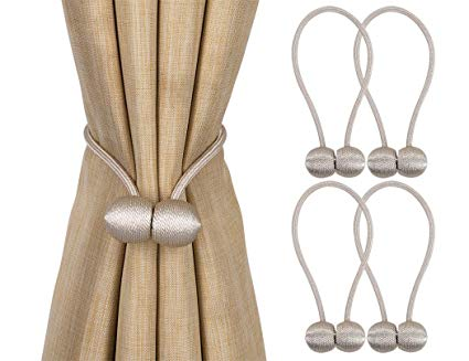 Home Queen Magnetic Curtain Tiebacks,The Most Convenient Drape Tie Backs,Decorative Rope Holdbacks/Holder for Window Sheer
