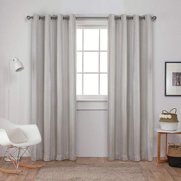 Exclusive Home Curtains Carling Woven Blackout Grommet Top Panel Pair, Platinum