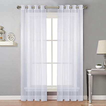 "Sheer Grommet top panels 52 W x 96"" long white sold as a pair"