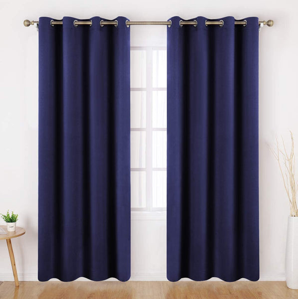 Ultra Soft Premier Blackout Curtain for Living Room Extra Long 96 inch Length, Thermal Insulated Bedroom Curtains Grommet Top, Noise Reducing Patio Door Blackout Curtain - Navy Blue, 2 Panels 49.99