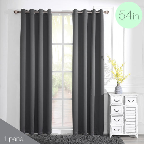 "DK Eclipse Solid Blackout Window Curtain Panel 52"" W x 96"" L  	charcoal"