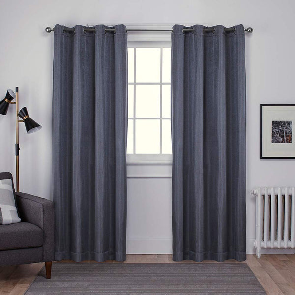 D.K. Home Curtains Woven Blackout Grommet Top Panel, Dark Gray  75 W X 104 L
