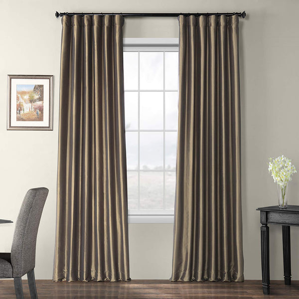 Half Price Drapes PTCH-BO005-108 Blackout Faux Silk Taffeta Curtain