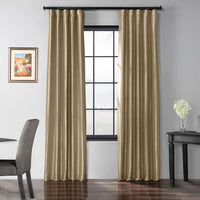 HPD Half Price Drapes Blackout Faux Silk Taffeta Curtain, Golden Spice tan