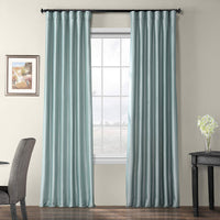HPD Half Price Drapes Blackout Faux Silk Taffeta Curtain, Robin's Egg