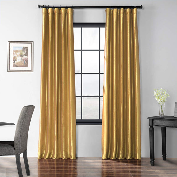 HPD Half Price Drapes Blackout Faux Silk Taffeta Curtain, Golden Spice (Gold)
