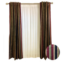 Burgundy Green and Gold Striped Printed Cotton Curtains