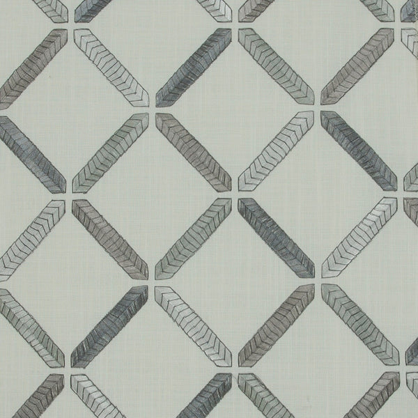 M5578 Seagull Gray Geometric Embroidery Drapery and Upholstery Fabric