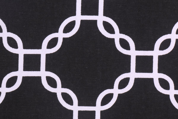 Golding Criss Cross Printed Cotton Drapery Fabric in Black by Drapery King Toronto
