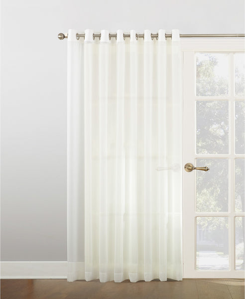 "Grommet top Sheer Voile Window Treatment Collection 52 x 84"" long 2 panel set Ivory"