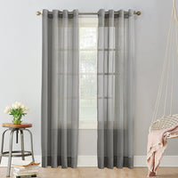 "Sheer Grommet top panels 52 W x 96"" long Gray sold as a pair"