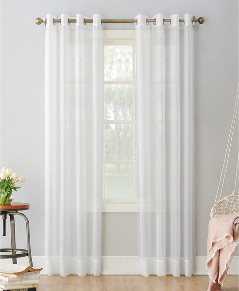 "Grommet top Sheer Voile Window Treatment Collection 52 x 106"" long 2 panel set white"