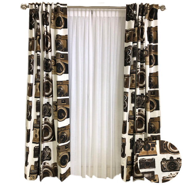 Camera Curtains Like a Camera Museum in a Drapery Panel
