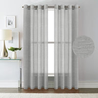 Angeline Breathable Mixed Linen Sheers Nickel Grommet Curtain Panels 75 x 96