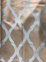 "Neutral silk pattern with turquoise lattice pattern- 108"" length"