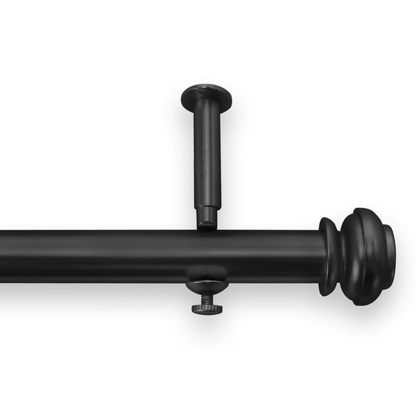 Christian style Single Curtain Rod and Hardware Set satin black 48 - 86