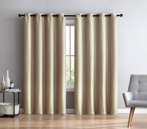 "Faux Silk Semi-Sheer Grommet Curtain Panels Lined - 54""W x 96""H  Taupe"