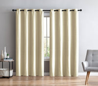 "Faux Silk Semi-Sheer Grommet Curtain Panels Lined - 54""W x 108""H  Ivory"