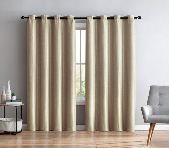 Faux Silk Semi-Sheer Grommet Curtain Panels Lined - 54