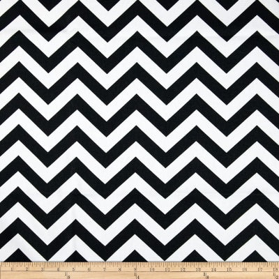 Prints Zig Zag, chevron, Black / White Fabric, 54