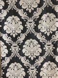 "Charcoal Silver Damask Panel - 50"" W  x 96"" H"