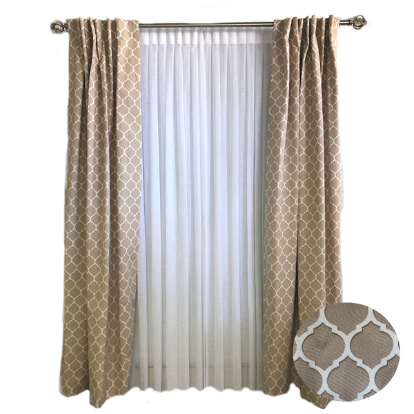Taupe Curtain with Ivory Lattice