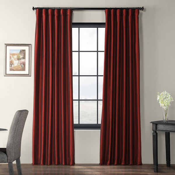"Exclusive Fabrics & Furnishing Blackout Faux Silk Taffeta Curtain Panel 120"" Long ""Burnt"""