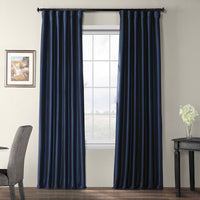 "Exclusive Fabrics & Furnishing Blackout Faux Silk Taffeta Curtain Panel 120"" Long ""Blue"""