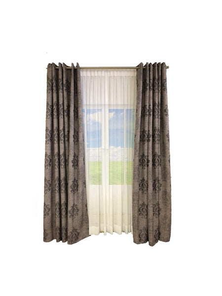 Linen with Dark Brown Damask Pattern, Lined with Grommets