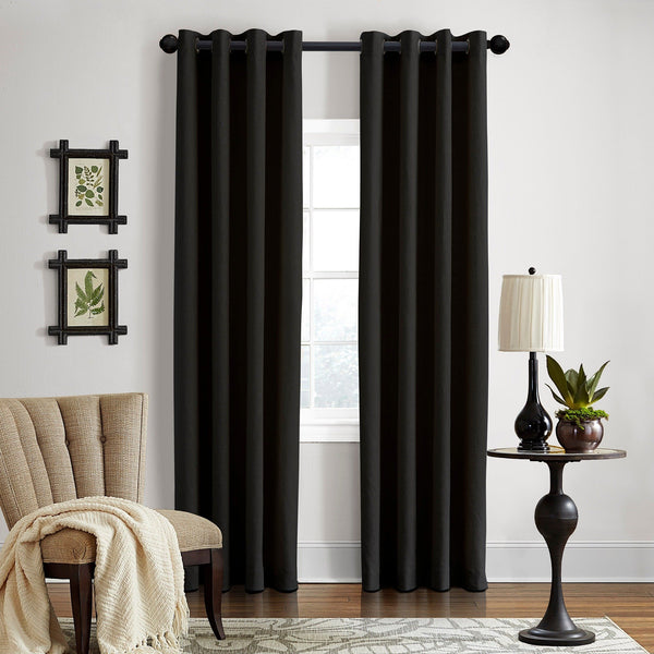 "DK  Linen Gotham Black Grommet Curtain Panel 52"" W x 96"" L  	Black"
