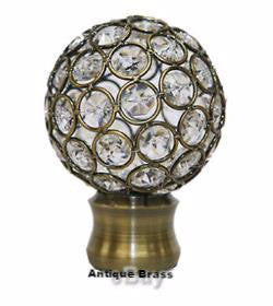 "heavy duty Metal Rod Poles Curtain collection 1 3/8"" Disco ball Finial antique brass"