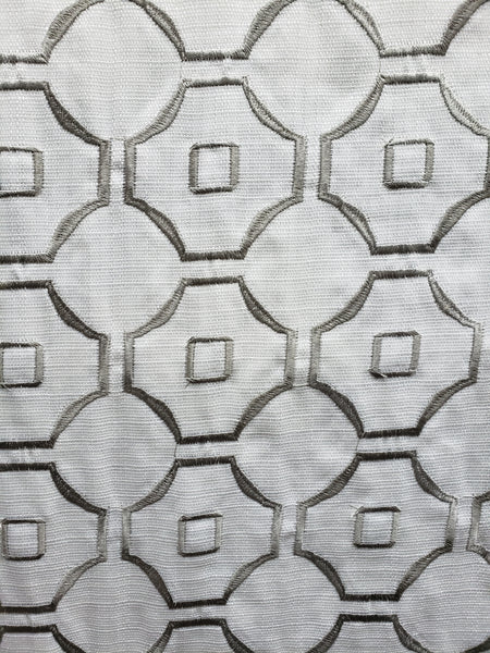 Marble, platinum Embroidered 100% Polyester Linen Drapery Fabric (54 in.) Geometric