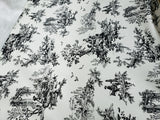 Toile Fabric Cotton 54 inch wide in Ivory/ Black