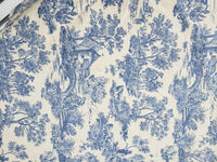 Linen Toile Fabric  54 inch wide in Ivory/ Blue