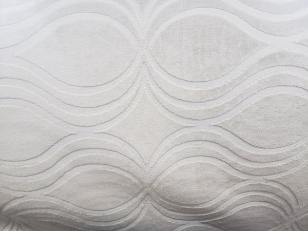 "Richloom Ira Velvet Upholstery Fabric in Rice  54"" wide Ivory"