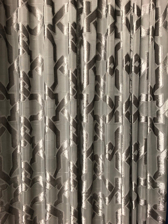 Pinch pleated Geometric sheer panels 150w x 95L Gray sold as a pair