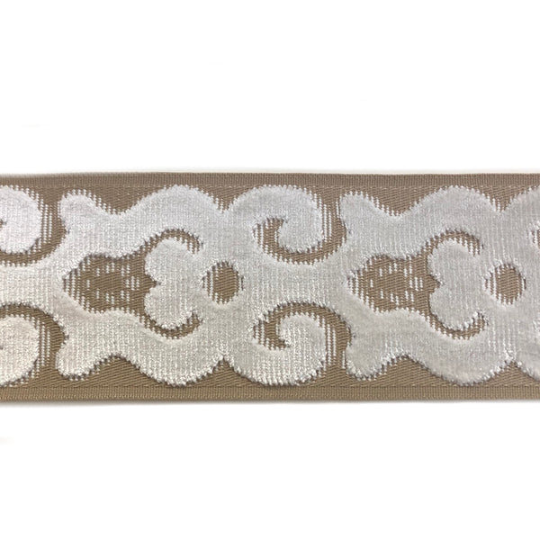 Velvet border and trim. Online Special.    Designer Trim by The Yard Tape Fret  Velvet aqua transitional Border Drapery, Craft, upholstery, bedding Hollywood Regency 3.5 inch