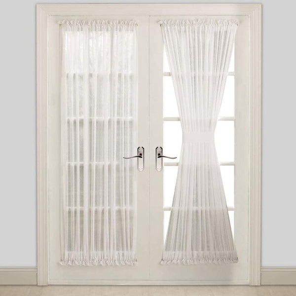Pair Of 2 Sheer White French Door Curtains With 2 Matching Tie-Backs