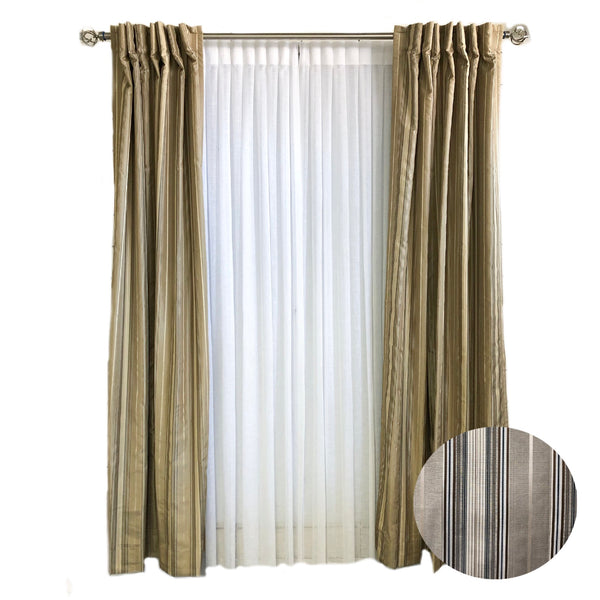 Beige and Taupe Striped Curtains