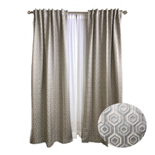 Jacquard Collection- Small Hexagon Pattern Curtains*