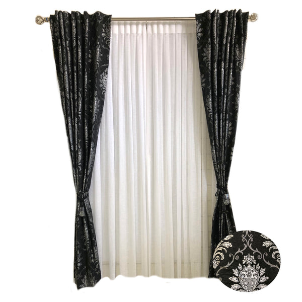 Black Fabric with Metallic Silver Damask Jaquard