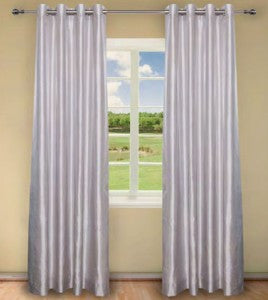 Exclusive Home Curtains Dupioni Faux Silk Grommet Top Window Curtain Panel Pair, Winter White, 40x84