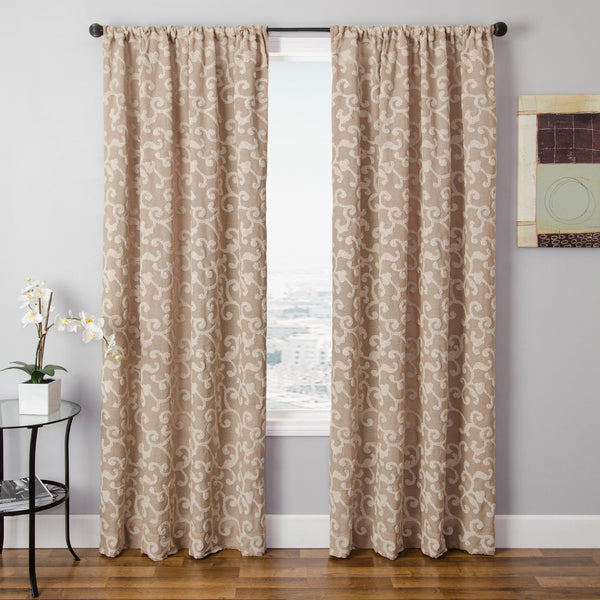 Softline Solomon Faux Linen Embroidered Curtain Panel - Sage - 108 Inches - Single Panel - 55 x 108 by Softline